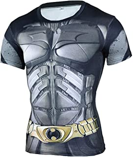 Mens Short Sleeve Dri-fit Captain America Compression Workouts Costume Shirt