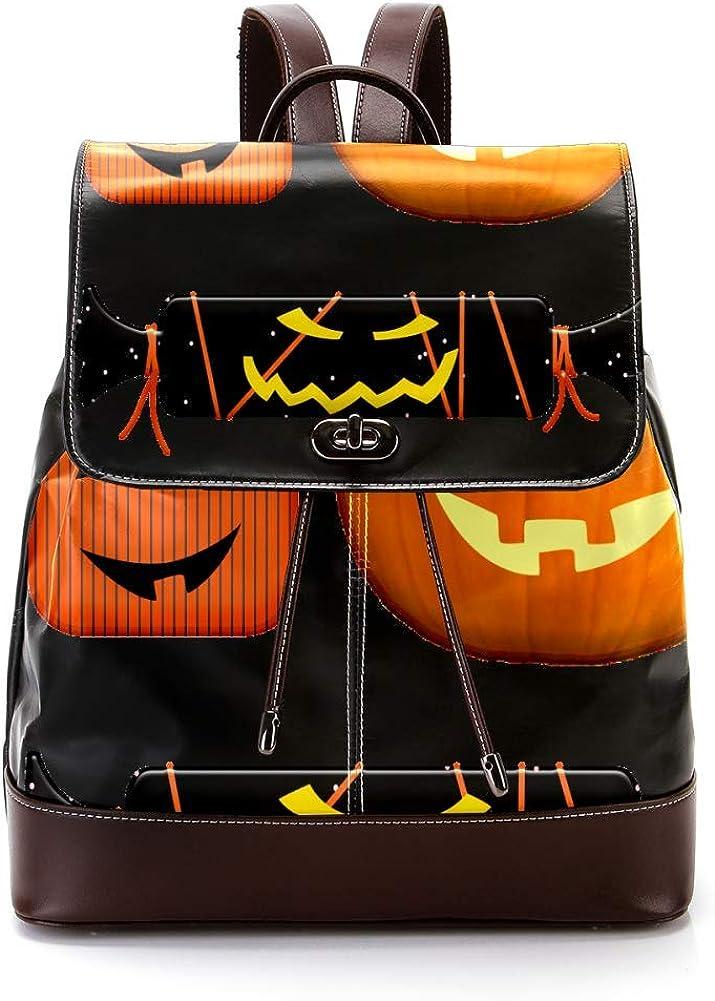Halloween Pumpkin Gifts PU Leather Backpack Fashion Shoulder Bag Rucksack Travel Bag for Women Girls