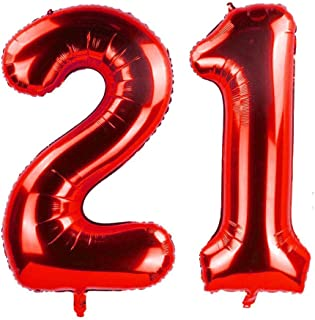 ZOOYOO 40 Inch Red 21 Foil Mylar Number Balloons for 21th Birthday Party Supplies,21th Anniversary