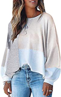 WAWJIR Women Soft Off Shoulder Color Block Oversized Knit Sweaters Loose Puff Sleeve Pullover Crop Tops