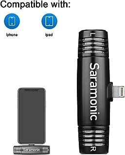 iPhone Lightning Plug & Play Micrófono, Saramonic SPMIC510DI Micrófono de condensador estéreo compacto X/Y con puerto Lightning certificado por MFI iPhone Apple Mic Compatible con iPhone iPad iOS