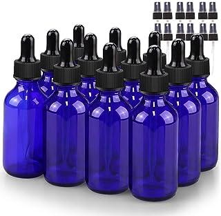 Glass Bottle Set, BonyTek 12 x 2oz Glass Spray Bottle, Blue Glass Eye Droppers Bottles for Watering Flowers Aromatherapy C...