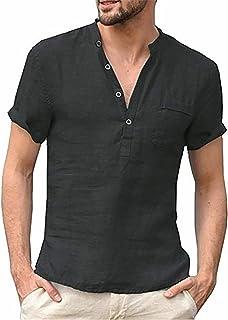 Halfword Men's Henley Shirt Linen Casual Cotton Short Sleeve Grandad Tee Button T Shirts Summer Tops M-3XL