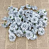 VORCOOL 50 Stück Kunstblumen Rosenköpfe Stoffrosen Deko-Blüte (Silber) - 2