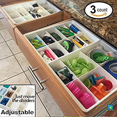Uncluttered Designs Adjustable Drawer Dividers for Utility Drawer Kitchen Storage and Organization by (3 Pack)