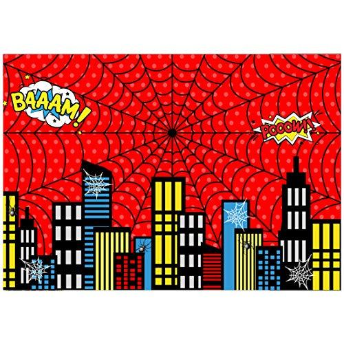 Allenjoy 5x3ft Red Superhero Theme Cityscape Backdrop for Photography 1st Boys Birthday Party Kids Baby Shower Decorations Family Gathering Background Cake Smash Photo Shoot Photobooth Studio Props
