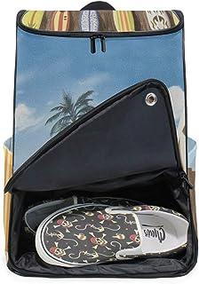 MONTOJ Beach colorido Surfboard viaje portátil mochila extra grande escuela escuela escuela mochila para hombres y mujeres