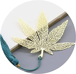 Creative Chinese Style Gifts Metal Hollow Maple Leaf Bookmarks with Tassel Craft Art Office Accessories School Stationery,Gold