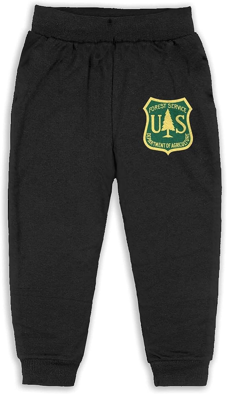 Thtfhe Unisex Kids Us Forest Service Flag Athletic Pants Cotton Sweatpants Leisure Pants for Boys