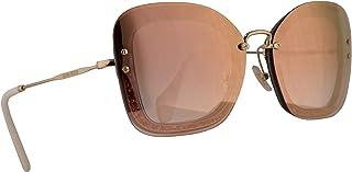 Miu Miu MU02TS Sunglasses Transparent Grey w/Pink Gradient Pink Mirror 65mm Lens 109AD2 MU 02TS SMU 02TS SMU02T
