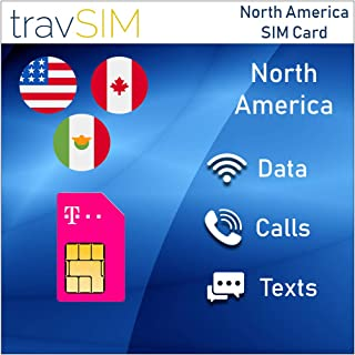 travSIM T-Mobile Prepaid USA, Canada & Mexico SIM Card – 50 GB US, 5 GB CA & MX Combined - 4G LTE Data - Unlimited National Voice Calls & Text Messages – Valid for 15 Days