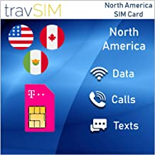 travSIM T-Mobile Prepaid USA, Canada & Mexico SIM Card – 50 GB US, 5 GB CA & MX Combined - 4G LTE Data - Unlimited National Voice Calls & Text Messages – Valid For 10 Days