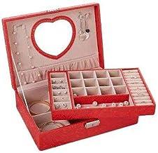 GPWDSN Met Lock Hand Sieraden Oorbellen Sieraden Opbergdoos Grote Capaciteit (Rood)