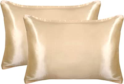 "AQOTHES 2 Pack Silk Satin Pillowcases for Hair and Skin, Standard Size Soft Luxury Silky Smooth Comfortable Cozy Bed Pillowcases Covers with Envelope Closure (20"" x26"", Champagne Gold)"
