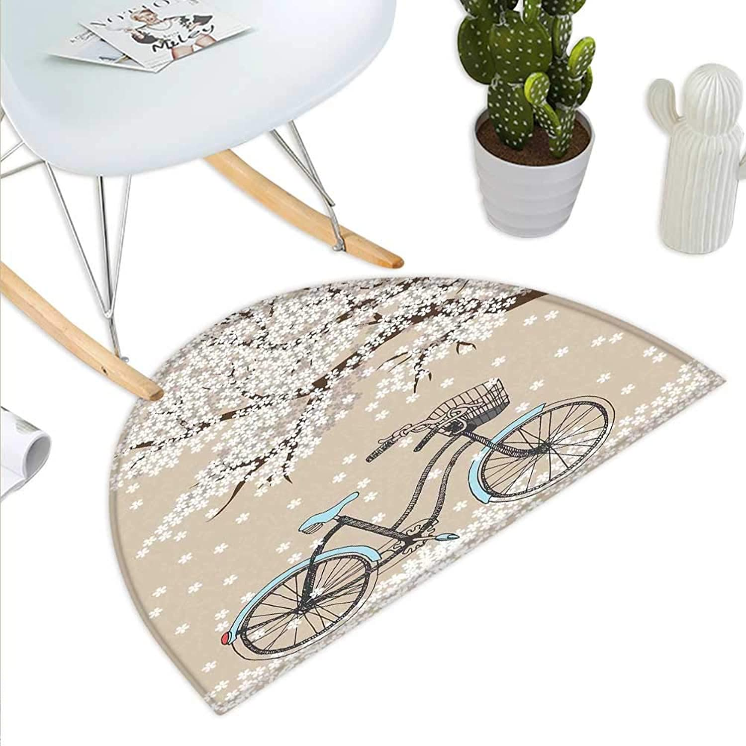Bicycle Semicircle Doormat Blossoming Tree with Little White Flowers in The Spring and a Bike Sketch Artwork Halfmoon doormats H 43.3  xD 64.9  Multicolor