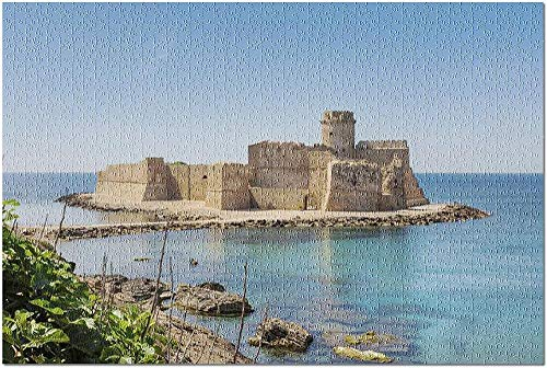 YYTOOF HD Le Castella at Capo Rizzuto Calabria Italy on a Sunny Day 9017933 (Premium 1000 Piece Jigsaw Puzzle for Adults 19x27)