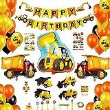 Decoraciones de Cumpleaños para Niños Globos Temáticos de Construcción Pancarta de Cumpleaños Globos de Látex Pegatinas Juguetes de Coche Adornos para Tartas para Niños