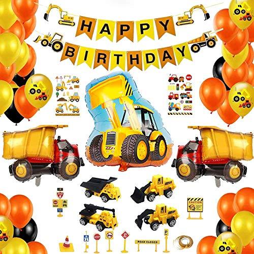 Decoraciones de cumpleaños para niños Globo de construcción de vehículos Pancarta de feliz cumpleaños Globos de látex para niños Suministros de fiesta de cumpleaños Baby Shower Conjunto