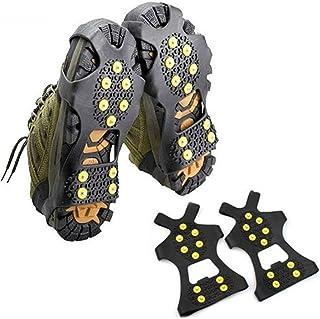 WHHHuan 1 paire de crampons antidérapants à 10 crampons pour chaussures de neige, de glace, d'escalade, de haute qualité (...