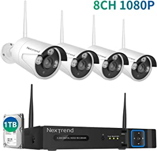 [8CH Expandable] Security Camera System Wireless,1080P 8 Channel Wireless Camera System with 1TB Hard Drive and 4PCS 1080P Outdoor Security Cameras 65ft Night Vision for Home Security, Easy Setup