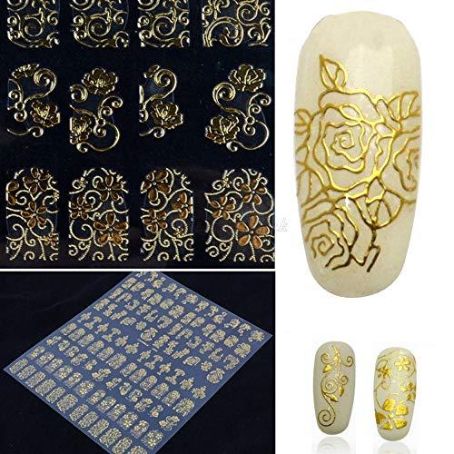 Yogogo 3D Autocollants Ongle Nail Art Stickers Design Floral Couleurs Mélangées Décalcomanies Manucure Belle Mode Accessoires Décoration