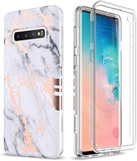 SURITCH Case for Galaxy S10,[Built-in Screen Protector]Rose Gold Marble Full-Body Shockproof Protection Rugged Cover for S...