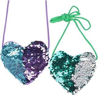 Mini borse a forma di cuore con paillettes lucide a forma di principessa, borsa a tracolla per bambine