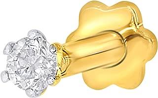 EternalDia 2.4mm Diamond Nose Stud/Lip Labret/Screw Ring Piercing Pin Bone 14Kt Gold 19 Guage (GH/I1-I2)