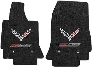 Fits C7 Corvette Z06 Floor Mats- Flags w/ Z06 Supercharged Logo: Black
