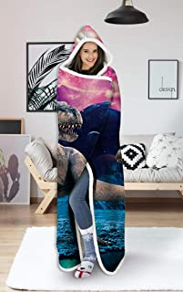 uideazone Wearable Hooded Blanket Hood Poncho Cloak Cape Funny 3D Galaxy Dinosaur Print Men Women Cozy Throw Sherpa Fleece Soft Warm Winter Novelty Blanket for Sofa Lounge Bed Napping 60X80 Inch