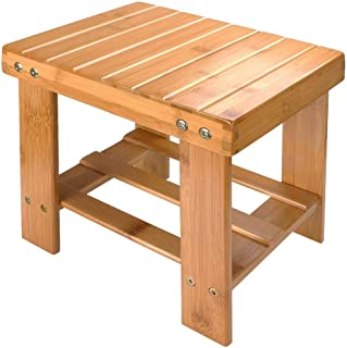 A+Selected Bamboo Step Stool, 10 inch Wooden Foot Stool for Mudroom Foyer Entryway Shoe Bench