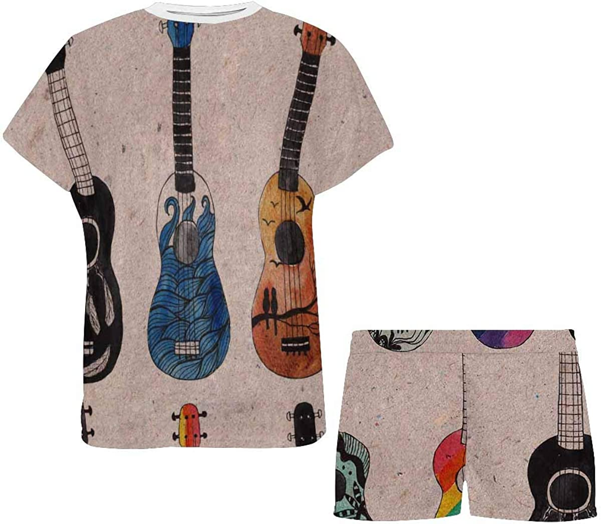InterestPrint Colorful Ukulele Guitars Women's Pajamas Short Sets Round Neck Short Sleeve Sleepwear