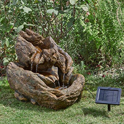Smart Garden Fontaine Solaire à Eau Imitation Pierre en Résine 45cm Énergie Solaire sans Fil