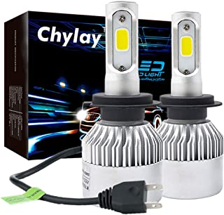 Chylay H7 LED Headlight Bulbs Auto Headlamp High Low Beam & Fog Light, 72W 8000LM 6500K Cool White Car Headlight 2 Bulbs with Aluminum Housing & Turbo Cooling-2 Year Warranty