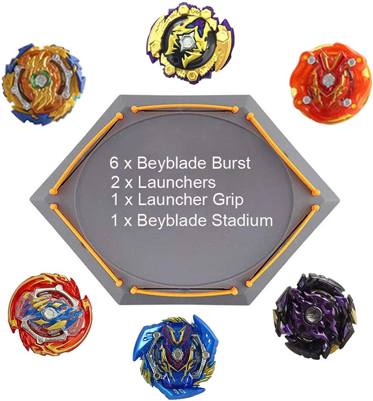 (6 Battling Top + 2 Launcher + 1 Handle + 1 Gyro Battle Disk) - YZKJ - Beyblade Burst Puzzle Creative Educational Toy Gift Starter Launcher Battle Game Tops Combination Set Bey Battling Blades.
