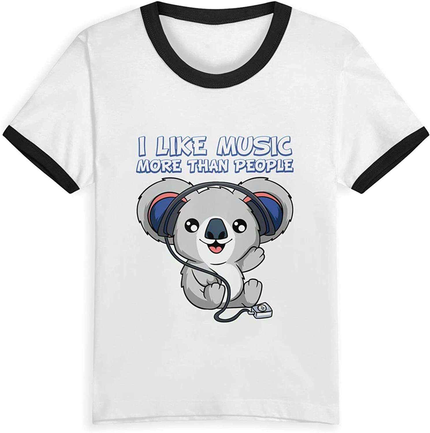 I Like Music More Than People Koala T-Shirts Novelty for Girls Tees with Cool Designs