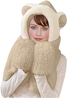 iNoDoZ Cute 3 in 1 Women Winter Warm Plush Hooded Ear Scarf Snood Pocket Hats Gloves Thick