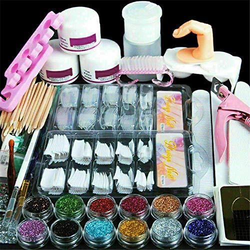 Kit D'Outils pour Ongles En Acrylique Pro Set Autocollant pour Ongles En Poudre, Kit de Manucure pour Galerie de Mode Conseils pour Ongles Faux Ongles Nail Art Glitter Tools Set