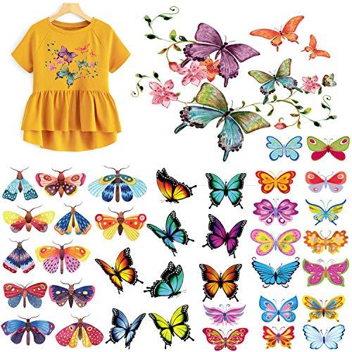 MWOOT 4 Blatt (42 Stück Schmetterling) Gemischt zufällig Patches Zubehör Aufbuegler Bügeleisen-auf Aufnäher, Applikation Applique Flicken Patches Kleidung und Handtaschen