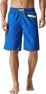 Nonwe Men's Swim Trunks Quick Dry Elastic Waist with Cargo Pocket Beach Shorts