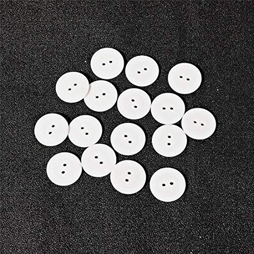 9/11/15/18/20/23/25mm Round Buttons 2 Holes Sewing Buttons Scrapbooking DIY Clothes Dolls Crafts Garment Accessories-White,15mm x 2mm 50pcs