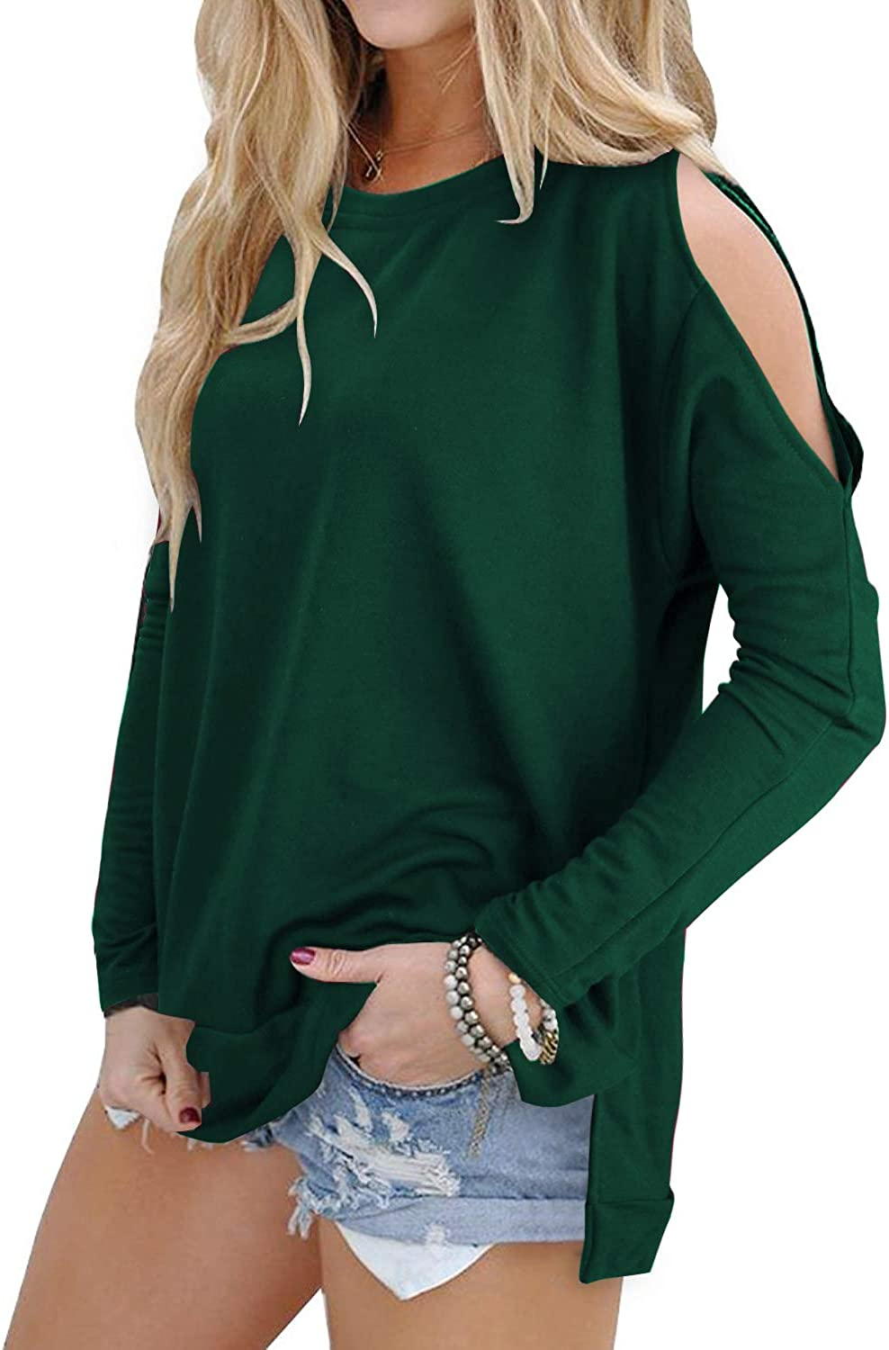 OUGES Women's Cutout Cold Limited time trial price Shoulder Sleeve Top T-Shirt Free shipping Long Tunic
