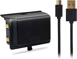 Xbox one用チャージバッテリー - ATiC Xbox one用 USBケーブル付き 2000mAh 大容量充電電池 チャージバッテリー BLACK