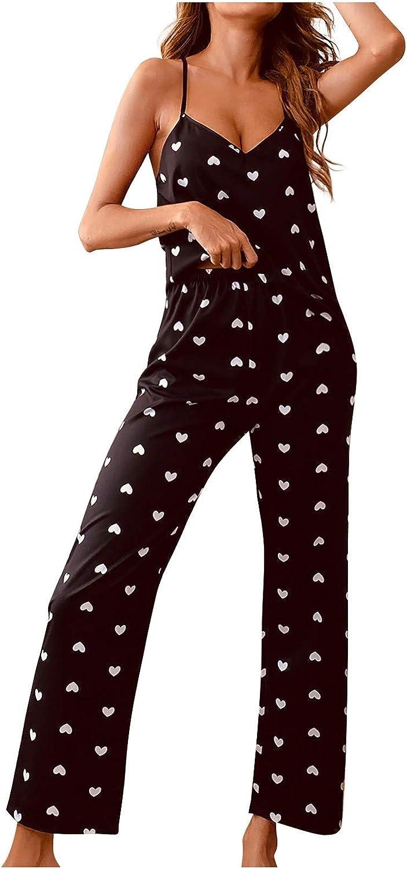 Women 2PCS Silk Pajama Set Floral Satin Spaghetti Strap Crop Cami Top and Pant Lounge Sleepwear Sexy Soft Pj Sets