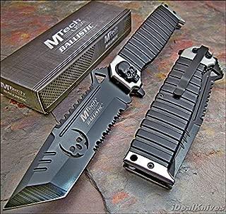 Mtech Ballistic Sawback Tanto Skull Pocket Knife New