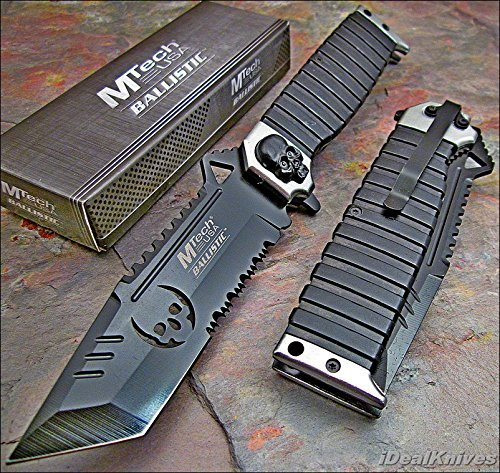 MTECH Ballistic SILVER SAWBACK Tanto Skull Spring Assisted Opening Knife NEW!!