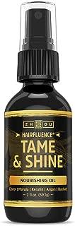 Zhou Nutrition Hairfluence Tame & Shine Hair Oil for Frizz-Free Healthy Shine - Scientifically Formulated Hair Oil Serum & Detangler with Keratin, Biotin, Argan, Baobab, Marula, Castor Oils - 2 oz.