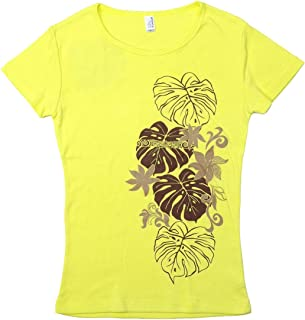 (ムームーママ) MuuMuuMama 半袖 フライス Tシャツ タヒチアンモンステラ柄 黄色ボディ ココア&ベージュプリント