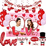 Valentine's Day Party Decoration-Valentine's Day Banner and Photo Booth Prop Frame,Hanging Red Heart Swirls,Love Foil and Latex Valentine Balloons for Wedding Anniversary Engagement Party Supplies