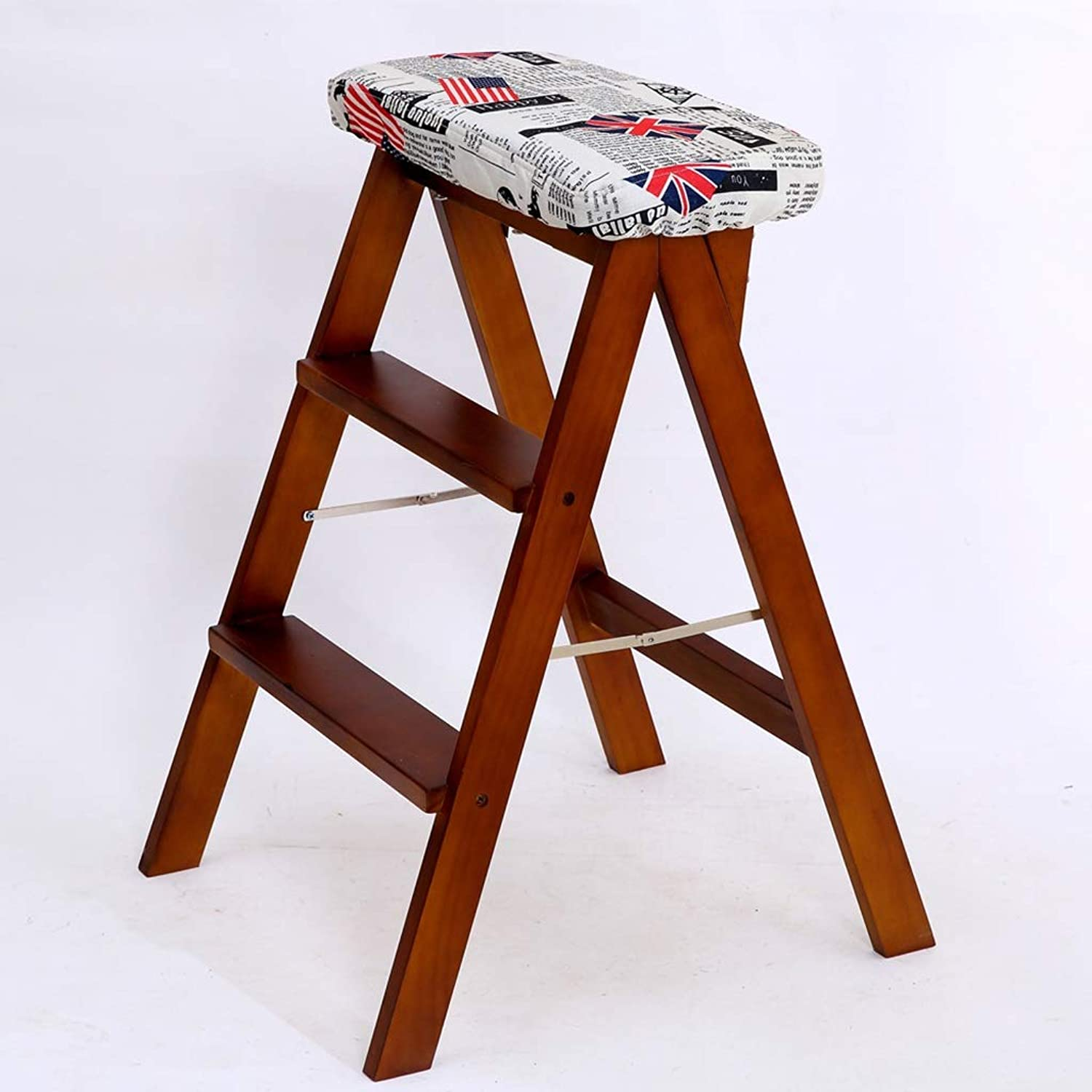 Solid Wood Creative Folding Stool Folding Step Stool Kitchen Stool Portable Stool Folding Household Bench high Stool (color   D)